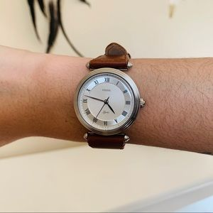 Fossil's Lyric Three Hand Brown Leather Watch